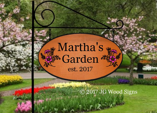 Carved Garden Sign Personalized Gift Family Name Sign - Flower Graphic - Custom Sign Carved Wooden Sign Camp Sign with Sign Holder option JG Wood Signs Etsy Martha