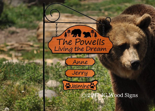 Wooden Camping Signs Family Name Sign - Living the Dream Bear Pine - Colored Campfire Pine Graphic with RV sign post option JGWoodSigns Etsy Cabin Sign Powell