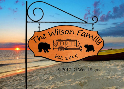 Bear RV Name Signs - Custom Carved Sign Wood Sign JGWoodSigns Etsy Camping Sign Wilson