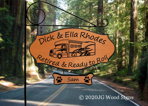 Custom Campsite Signs Super C Personalized Camping Sign - Custom Carved Wood - RV Graphic with sign holder option Rhodes