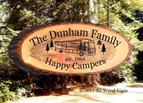 Wood Slab Camping Signs