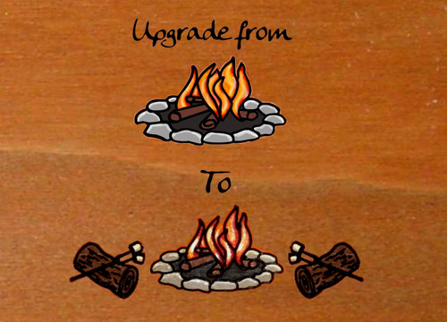 Upgrade - Adding Logs and marshmallows to any campfire sign