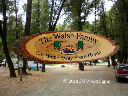 Campfire Camping Chairs Etsy  Personalized Sign Wood Slab Oval with Outer Bark - Outdoor  Sign Name Sign Custom Sign JGWoodSigns Father's Day Gift