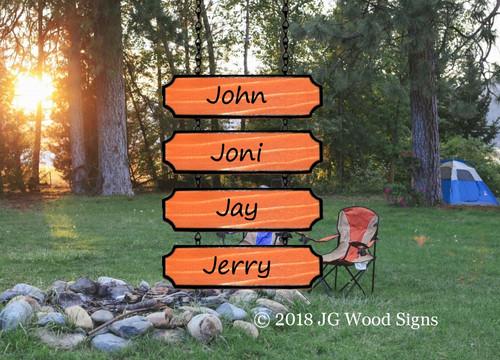 Wood Camping Sign