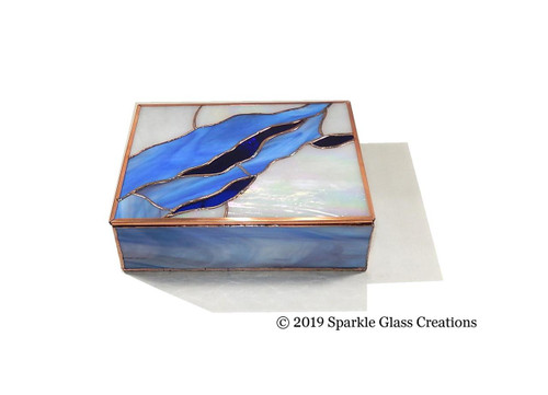 Stained Glass Box Blue Rose Trinket Box Etsy - Mom Gift - Christmas Gift - Jewelry - Keepsake Box 25