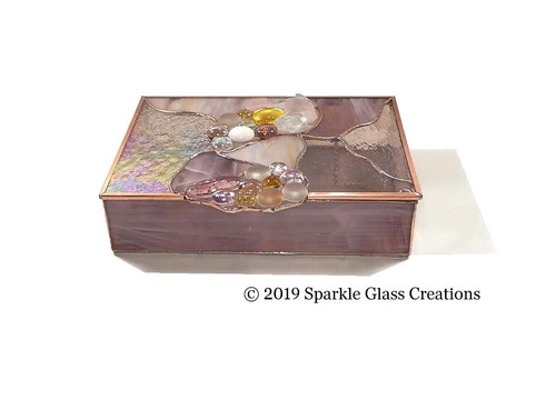 Stained Glass Box Pink Wispy and  Clear Textured Trinket Box - Mom Gift - Christmas Gift - Jewelry - Keepsake Box 35