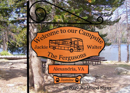 RV Name Sign Motorhome RV Camping Name Sign - Custom Carved Wood Sign Camper Sign JackieWalter