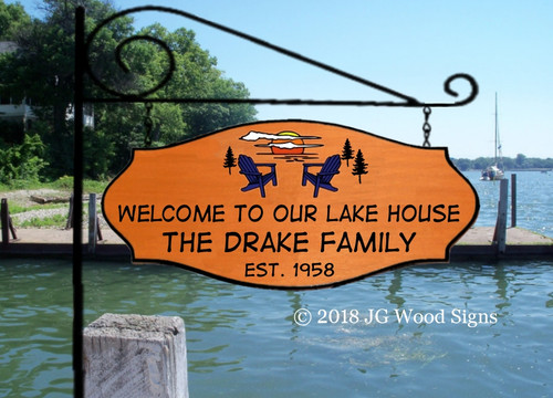 Custom Campsite Signs - Extra large Sunset Chair Pine Tree Personalized Family Name Camping Sign - Custom Wood Sign with XL Garden Sign Holder option JGWoodSigns RV Name Sign Drake