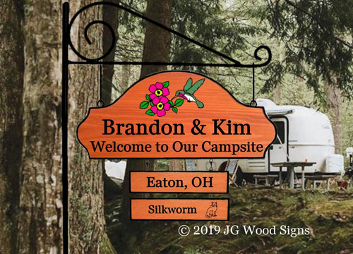 Personalized Camper Sign - Colored Campfire with sign holder option - JGWoodsigns Etsy Wood Sign Custom Sign Campsite Sign Name Sign BrandonKim