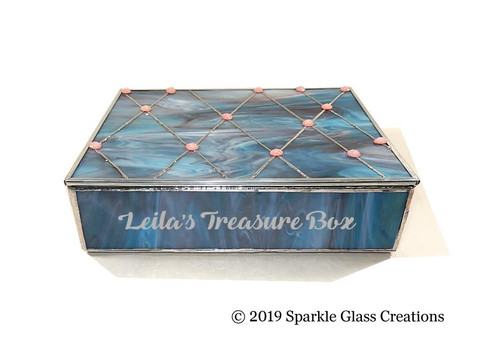 Stained Glass Rose Aqua Trinket Box Etsy - Mother Gift - Christmas Gift - Jewelry - Keepsake Box