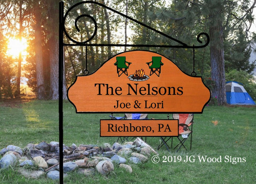 Wood Signs for Campers  Personalized Gift Cottage Sign Family Name Sign - Welcome To Our Getaway - Colored Campfire Chairs with sign holder option - JGWoodSigns Etsy - RV Sign Camping Sign Nelson