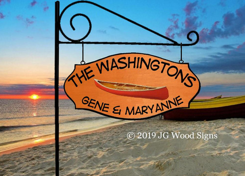 Personalized Lake Sign Canoe Family Name Camping Sign Personalized Gift RV Sign with Sign Holder Option - Carved Camper Sign JG Wood Signs Wood Sign Washington