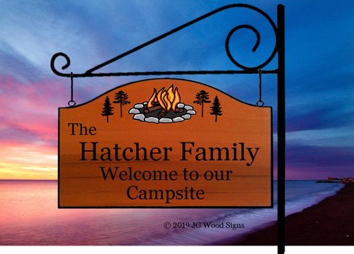 Custom Camping Sign Campfire Pine Wood Camp Sign - Dad Gift - with sign holder option JGWoodSigns Custom RV Sign Hatcher