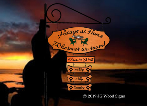 Custom Camping Sign RV Sign Sunset Chairs Personalized Gift Camping Sign - Main Sign and 4 addon signs - JG Wood Signs Etsy  Outdoor Sign Camper Sign ClairWill