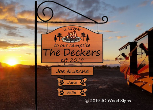 Custom Wood Camping Signs Personalized Gift Large Camping Sign Wood Carved Sign - Campfire Pine with 2nd graphic - with sign holder option JG Wood Signs Etsy Wood Camer Sign Decker