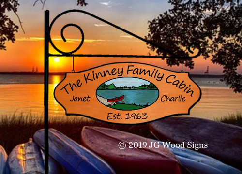 Personalized Lake Signs Colored Canoe Lake - Extra Wide  Double Sided RV Sign - Personalized Family Name Sign - JGWoodSigns Etsy- Wood Sign Beach Sign Kinney