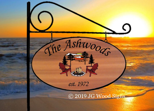 Personalized Wood Custom Lake Signs Beach Cabin Oval Colored Campfire w Sign Holder Option RV Family Name Sign Etsy JGWoodSigns Ashwood