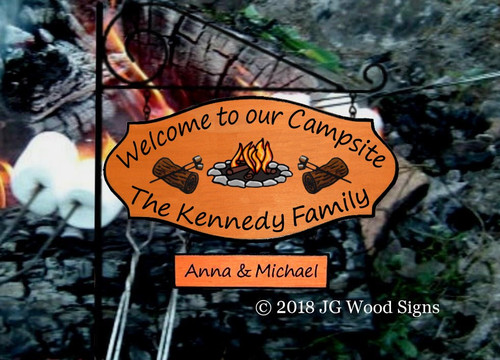 Personalized RV Sign - S'mores Colored Campfire with marshmallows Graphic - Custom Carved RV Camping Sign - JGWoodSigns - Custom Wood Sign Kennedy