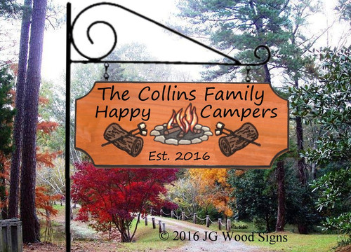 Wooden Campsite Name Camping Sign