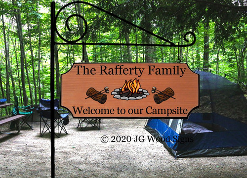 Wooden Campsite Name Camping Sign Campfire Log Marshmallow Custom RV Sign w Sign Holder Option Personalized RV Sign JGWoodSigns Etsy Rafferty
