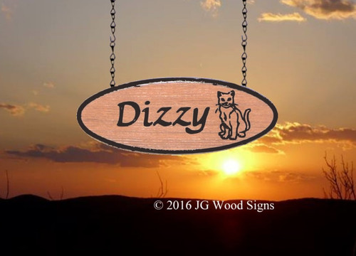 Personalized Pet Name Oval for Cat or other pet name   Add on to main sign  Custom Carved Wood Sign  Dizzy