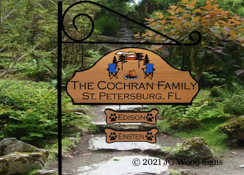 RV Name Sign with 2 Addons - Sunset Adirondack Chair  or Camping Chair Graphic Family Name Sign -  JG Wood Signs Etsy  Camping Sign Beach Sign Cottage Sign Cochran