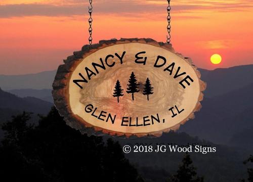 Wood Slab Cabin Signs