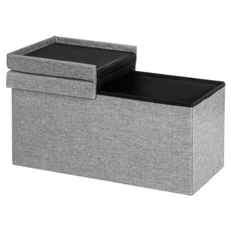 "30"" Folding Storage Ottoman With Lift Top-Light Gray (HW65884SL)"