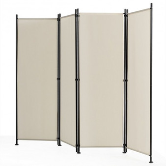 4-Panel Room Divider Folding Privacy Screen-Beige (HW65773WH)
