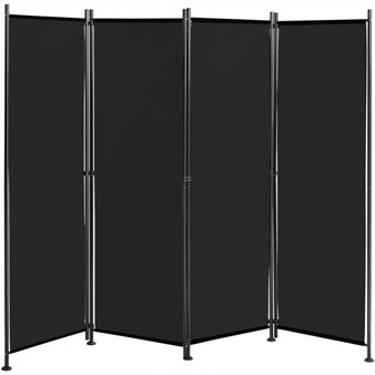 4-Panel Room Divider Folding Privacy Screen-Black (HW65773BK)