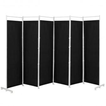 6-Panel Room Divider Folding Privacy Screen -Black (HW65775BK)