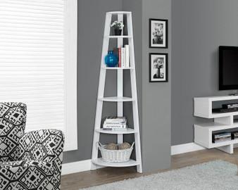 """Bookcase - 72""""H - White Corner Accent Etagere (I 2496)"""