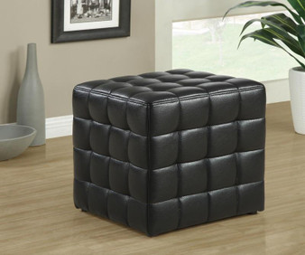 Black Leather Fabric Ottoman (I 8977)