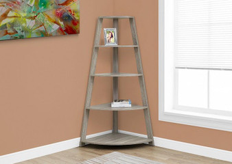 """Bookcase - 60""""H / Dark Taupe Corner Accent Etagere (I 2424)"""