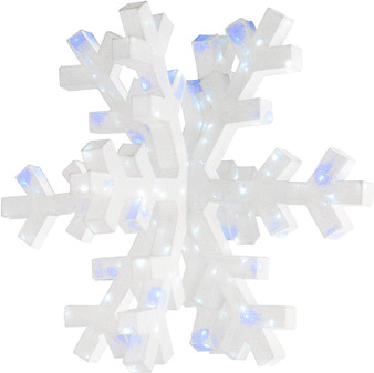 """36"""" 3D Mesh Fabric Snowflake With White Glitter & 160 Cool White Led & Blue Twinkle Lights Ul-Indoor/Outdoor (DF-160005L)"""