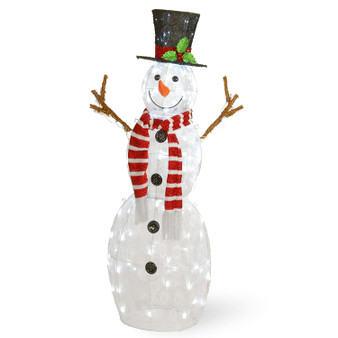"48"" Snowflake Fabric Snowman With 120 Cool White Led Lights-Ul (DF-120002L)"