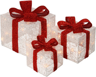 """6"""", 8"""" & 10"""" White Thread Giftbox With 35 Clear Indoor/Outdoor Lights Ul Set Of 3 (MZC-395)"""