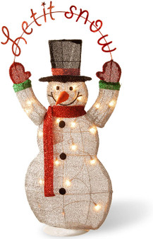 """36"""" Silver Fabric Tinsel 2D Snowman Holding A Sign """"Let Itsnow"""" With 20 Clear Indoor/ Outdoor Lights Ul-Pack1/4- Rehippable Inner Box (MZC-302)"""