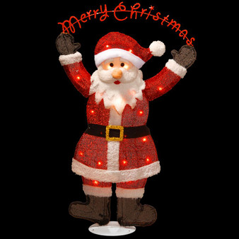 """36"""" Silver Fabric Tinsel 2D Santa Clause Holding A Sign """"Merrychristmas"""" With 20 Clearindoor/Outdoor Lights Ul- Pack 1/4-Rehippable Inner Box (MZC-303)"""