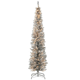 7' Silver Tinsel Tree With Stand & 210 Clear Lights Ul (TT33-300-70)