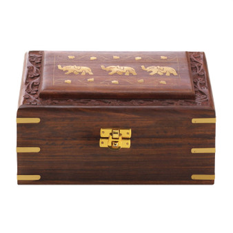 Carved Mango Wood Elephant Jewelry Box (10019030)