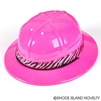 (HASAFPI) Pink Safari Hat With Zebra Band