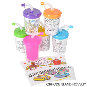 (CRCOLSI) 8 Oz Coloring Sippy Cup
