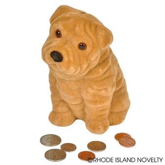 "(BKFPUPP) 5.5"" Flocked Puppy Bank"