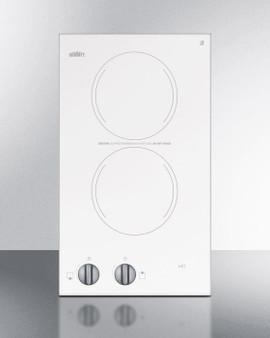 (CR2220WH) 230V Two-Burner Cooktop In White Ceramic Glass