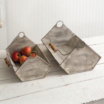 (Set Of 2) Galvanized Troughs