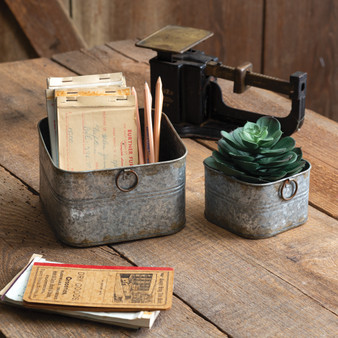 (Set Of 2) Small Square Buckets