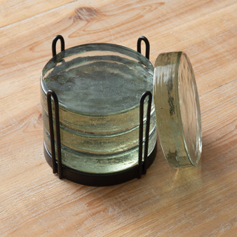 Blocked Glass Coasters Caddy