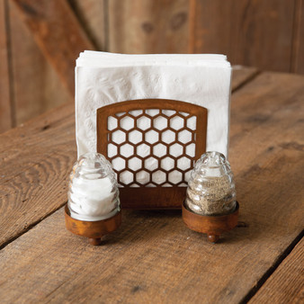Honey Hive Salt Pepper And Napkin Caddy