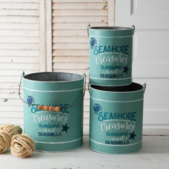 (Set Of 3) Seashore Treasures Galvanized Buckets
